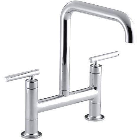 bridge taps kitchen sinks kohler purist bridge kitchen mixer tap