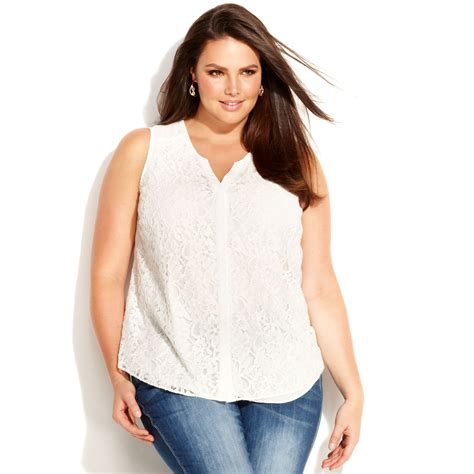 Plus Size Blouse inc international concepts plus size sleeveless lace blouse in white washed white lyst