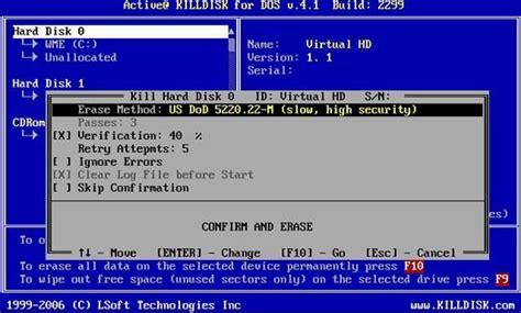 format hard disk ms dos active killdisk hard disk eraser screenshots