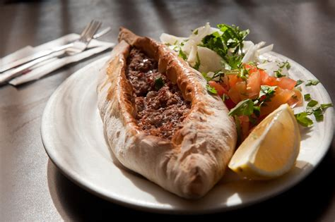 lahmajoun turkish food in a pita or lafa