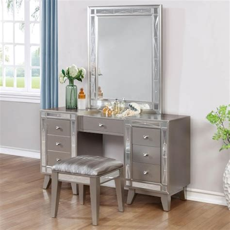 coaster leighton glam vanity desk stool and mirror combo