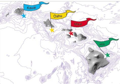 hawaiian island colors seafloor mapping hawaiian islands usgs pcmsc