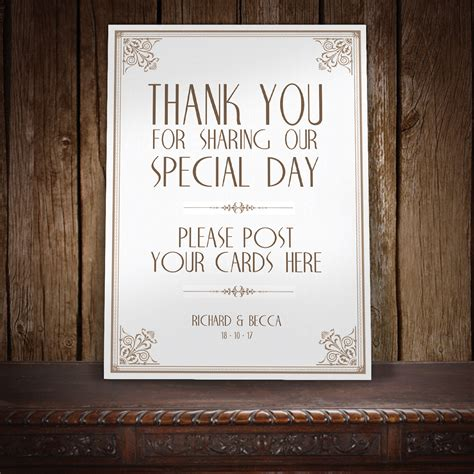 Wedding Post Box Thank You by Letterpress Deco Thank You Postbox Wedding Sign