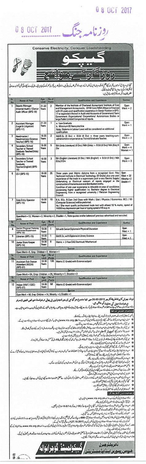 test pattern of nts gujranwala electric power company gepco nts application