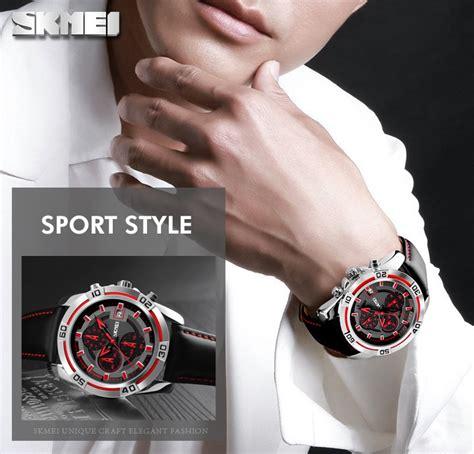 Unik Jam Tangan Pria Cowok Swiss Army Sky15 Chrono Leather Berkualit skmei jam tangan analog pria 9156 blue