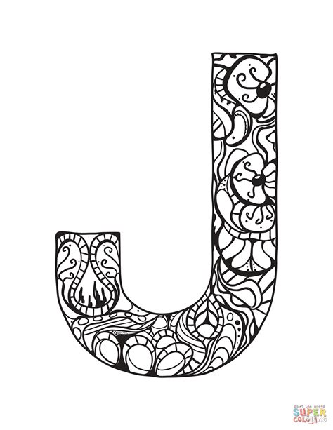 letter j coloring page letter j zentangle coloring page free printable coloring