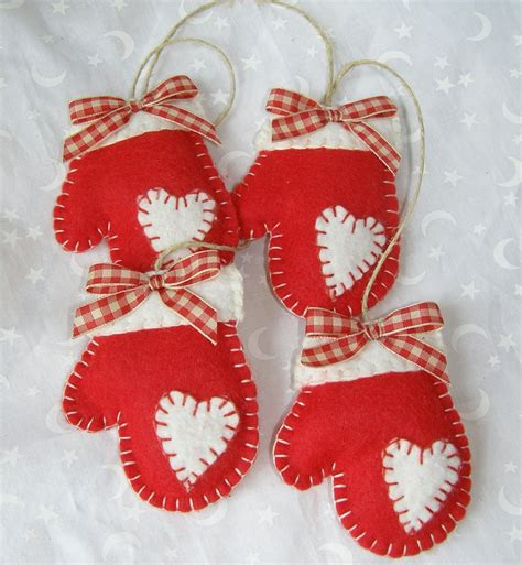 felt mittens handmade christmas ornament by paperbistro on