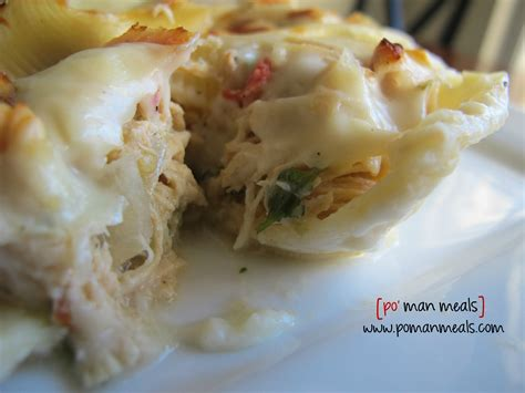 po man meals slow cooked chicken stuffed pasta with roasted garlic cream sauce