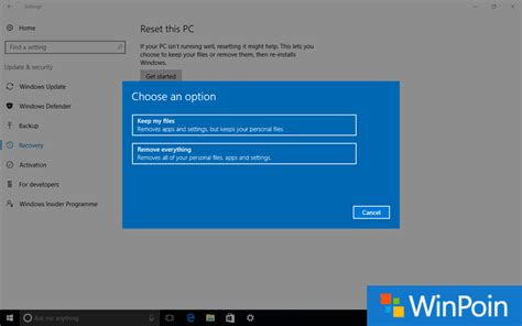 tutorial restore windows 10 tutorial cara reset windows 10 jadi seperti baru winpoin