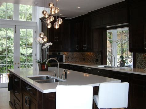 glossy brown kitchen cabinets contemporary kitchen  marx atelier