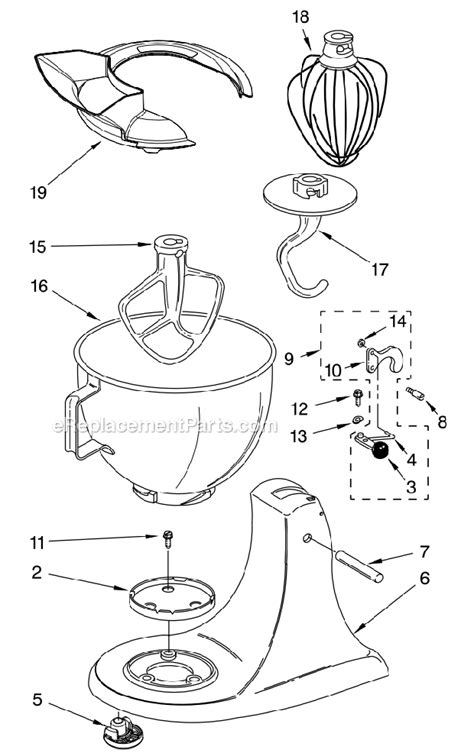 kitchenaid artisan mixer parts diagram kitchenaid ksm150psgn1 parts list and diagram