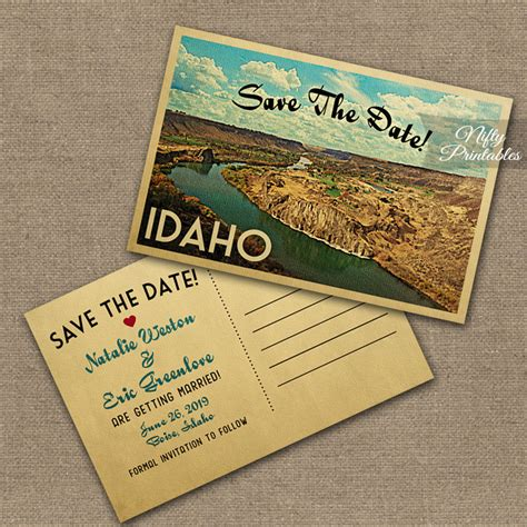 Idaho Wedding Invitations Printed by Idaho Save The Date Postcards Vtw Nifty Printables