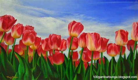 gambar lukisan pemandangan bunga tulip  belanda gambar