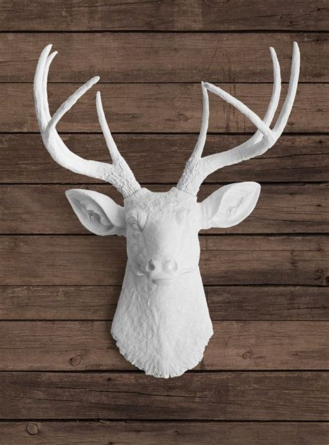 white animal heads wall decor faux white deer with white antlers ceramic