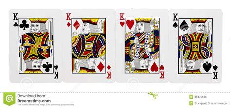 Vier kaarten van Koning stock foto. Afbeelding bestaande
