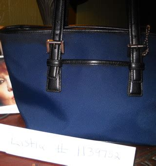 Tote Bag Original Coach Navy Blue free authentic coach hton s tote handbag navy blue canvas black leather c3j 7447 handbags