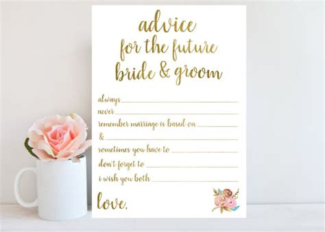 and groom advice cards template advice for the and groom bridal shower printable