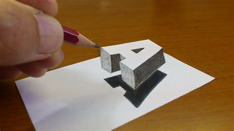 S Drawing 3d by Easy How To Drawing 3d Floating Letter Quot A Quot 2