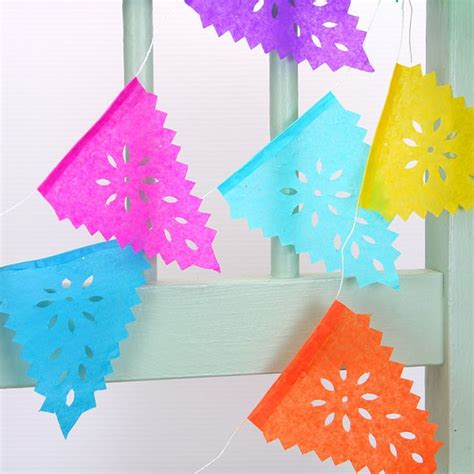 How To Make Paper Bunting - mini multicoloured mexican papel picado tissue paper