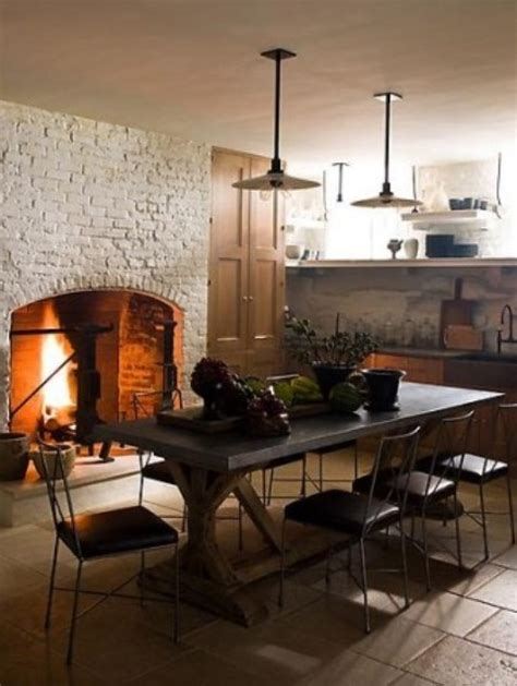 kitchen fireplace ideas 74 stylish kitchens with brick walls and ceilings digsdigs