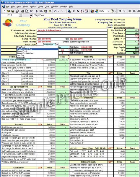 Order Swimming Pool Estimate Template