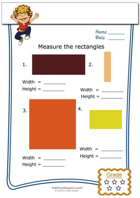 Beginning Geometry Worksheets Free by Basic Geometry Worksheet Rectangle Measurement 1