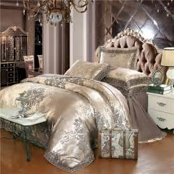 King Size Bedding For Less Gold Silver Coffee Jacquard Luxury Bedding Set King