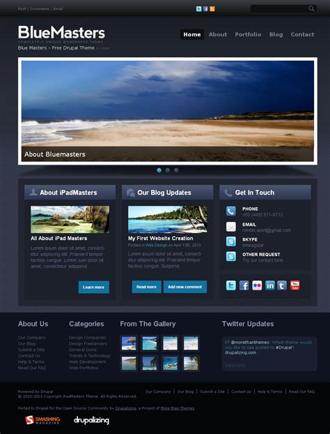 drupal themes with slider free download bluemasters free drupal theme preview