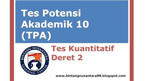 Taklukan Tpa Tes Potensi Akademik tes potensi akademik 10 tpa tes kuantitatif deret 2