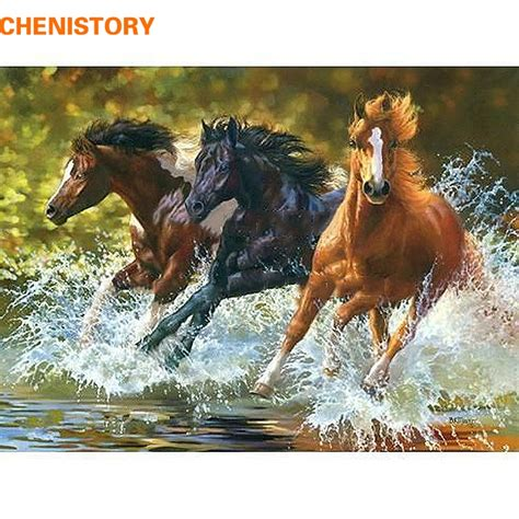 chenistory horse diy digital oil painting  numbers kits