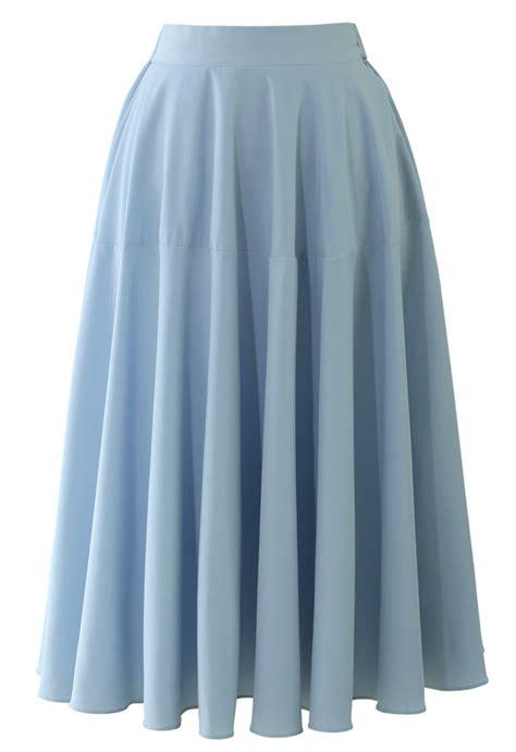 pastel blue midi skirt my style