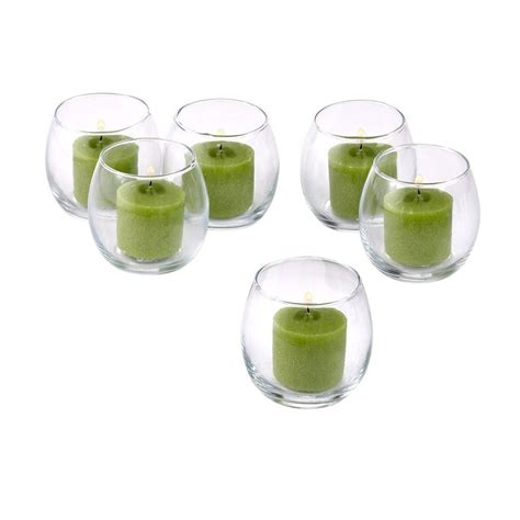green votive holders light in the clear glass hurricane votive candle