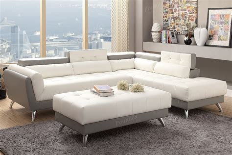 white grey bonded leather sectional with ottoman