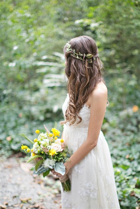 wedding hair floral crown wedding hair with flower crown