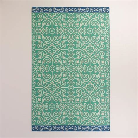 Outdoor Rug Turquoise Blue Bordered Turquoise Tiles Indoor Outdoor Rug World Market