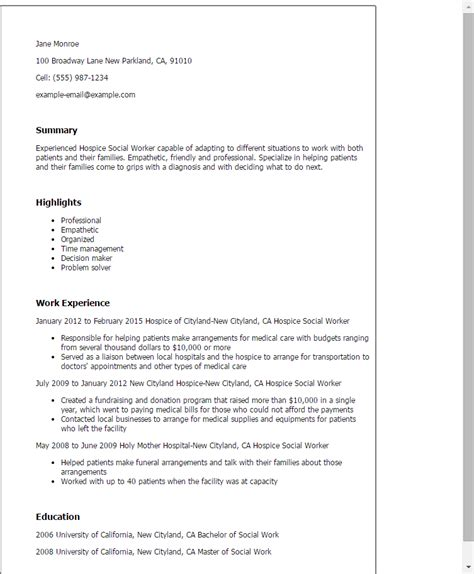 Hospice Resume professional hospice social worker templates to showcase