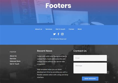 Top 53 Professional And Useful Html Themes Compilation Website Footer Template