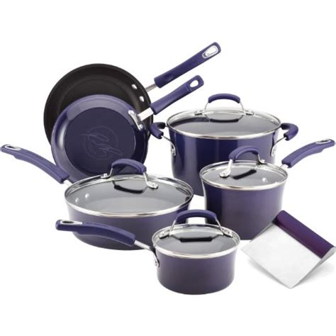 bench scrape shovel rachael ray purple porcelain enamel 10 piece starter