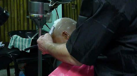 razor head shave girl full head straight razor head shave youtube