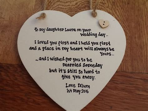 on this the day of my daughters wedding shabby personalised chic special gift for on