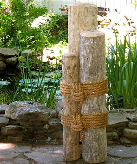 Outdoor Nautical Decor set two 48 quot high wood marine pilings nautical coastal