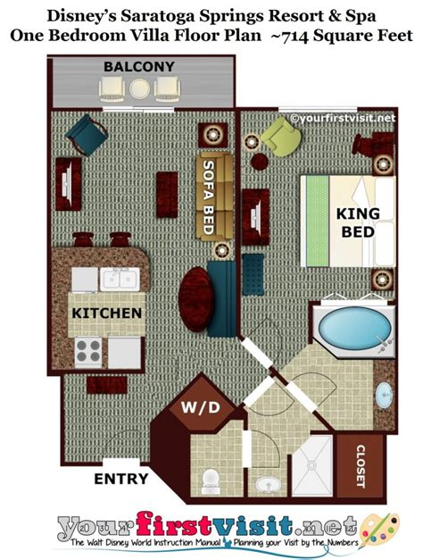 Disney Club 2 Bedroom Villa Floor Plan - photo tour of the living dining kitchen space in one and
