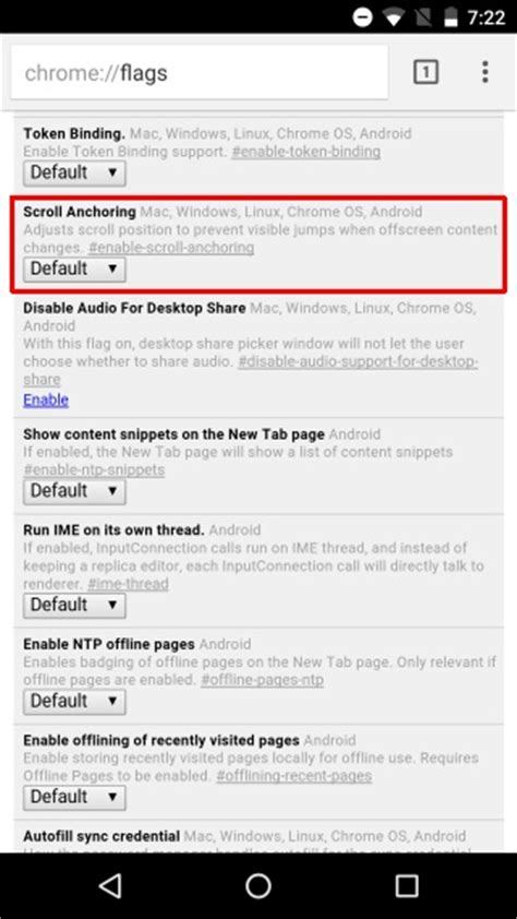 chrome flags android how to prevent web pages from jumping around when loading