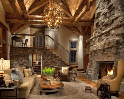 rustic livingroom rustic living room ideas with tall stone fireplace