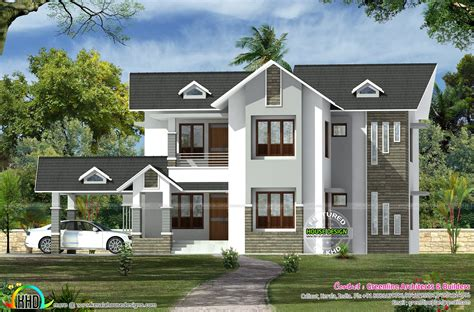 modern mix sloping roof home design 2650 sq feet gandul modern sloping roof dormer window home 3149 sq ft