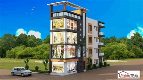 Residential Floor Plans With Dimensions Residential Commercial Elevation 3d Front View Design