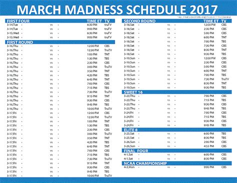 uk basketball schedule march printable 2017 ncaa tournament schedule