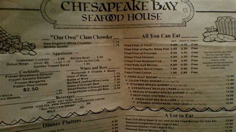 Menu Chesapeake Bay Seafood House Brings Back Memories