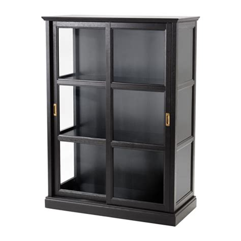 Black Cabinet Doors by Malsj 214 Glass Door Cabinet Black Stained 103x141 Cm