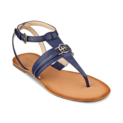 hilfiger sandals hilfiger womens lorine flat sandals in blue